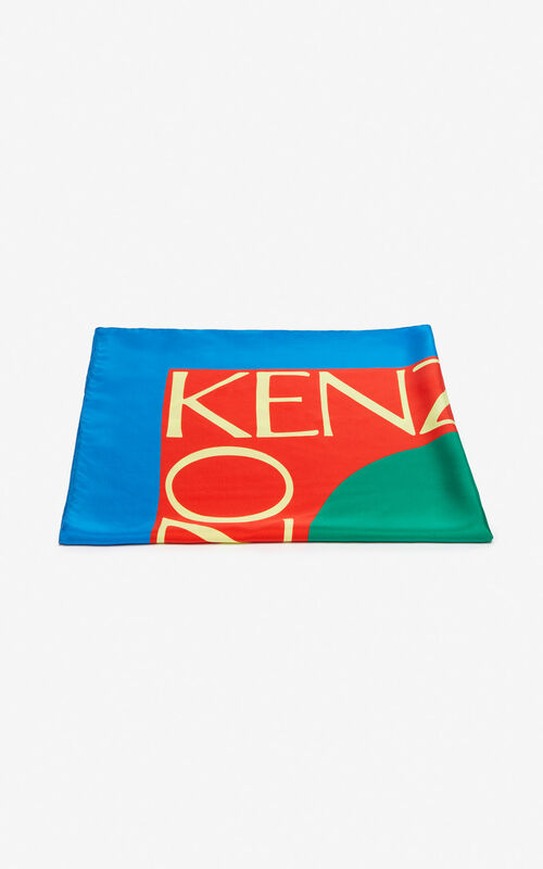COBALT 'Square Logo' colorblock silk scarf for unisex KENZO