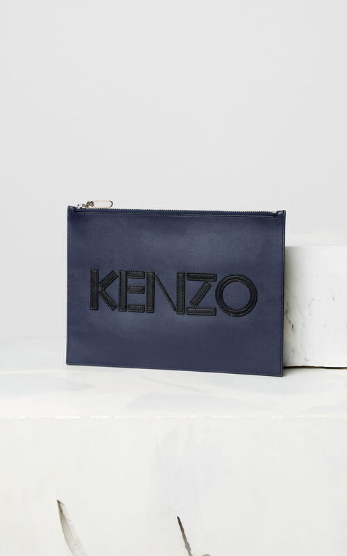 NAVY BLUE A4 KENZO Colorblock leather clutch for men