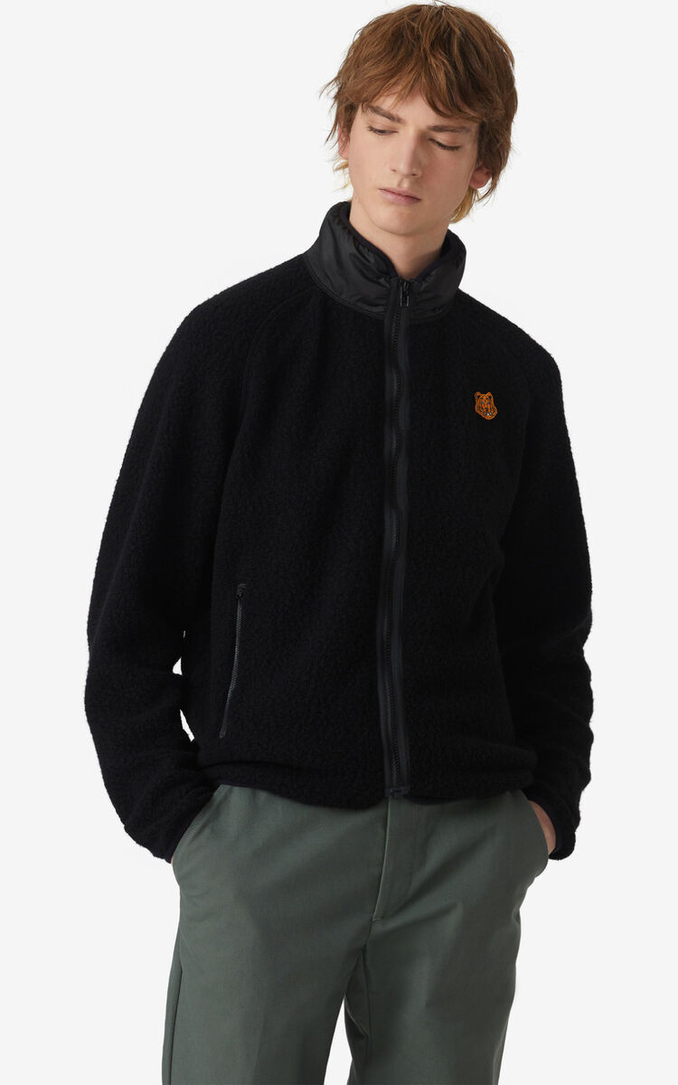 BLACK Tiger Crest Lightweight polar fleece jacket for men KENZO