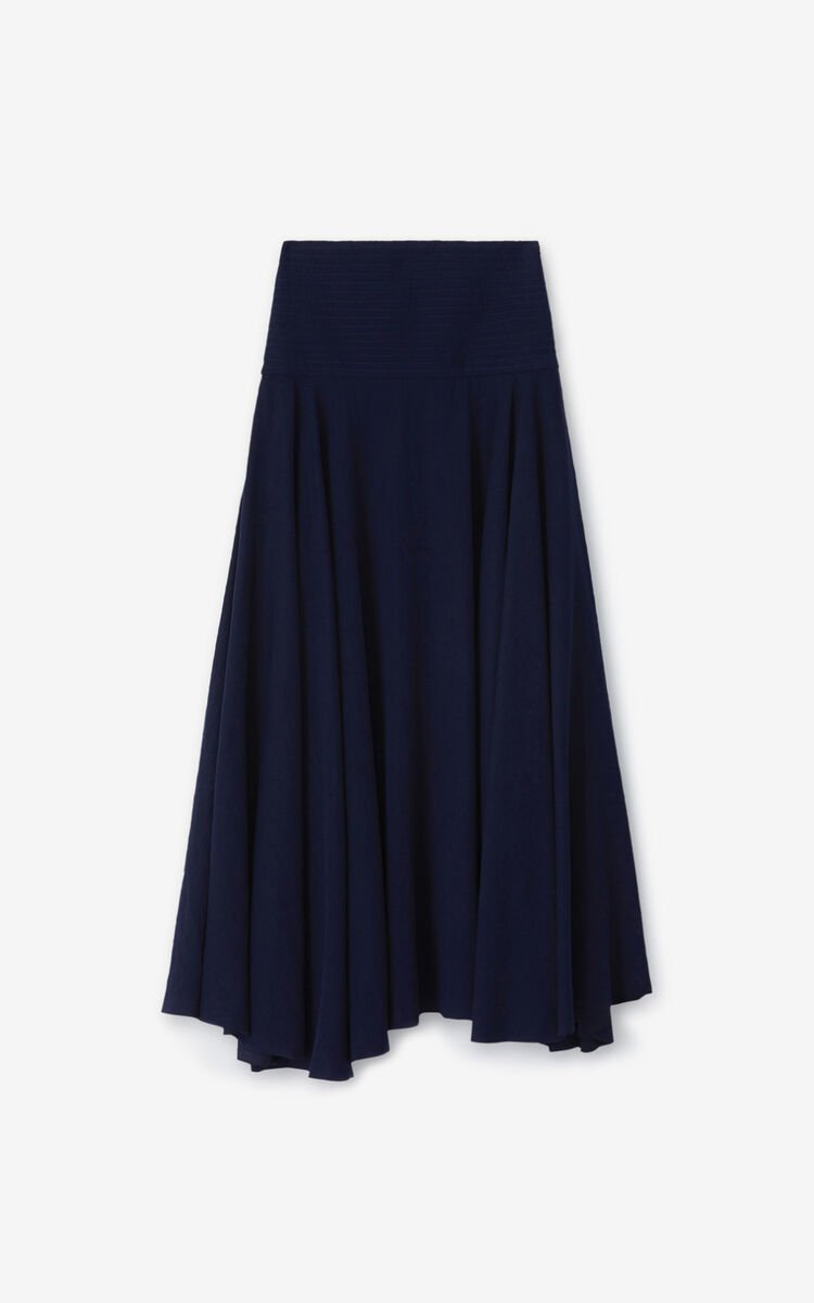 BLUE BLACK Long flared skirt for women KENZO