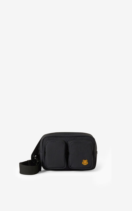 BLACK Tiger Crest belt bag for unisex KENZO