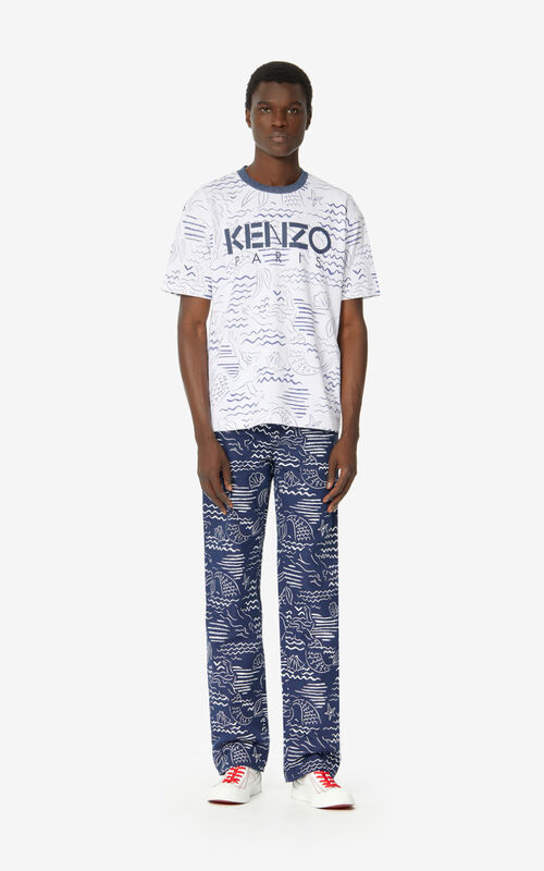 WHITE KENZO Paris 'Mermaids' T-shirt for men