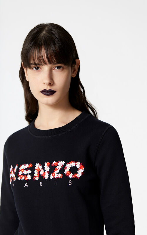 BLACK KENZO Floral sweatshirt for women