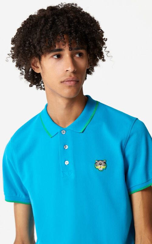 TURQUOISE Regular fit Tiger Polo shirt for women KENZO