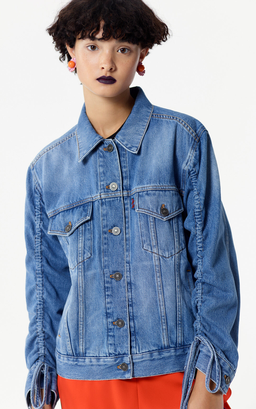 SKY BLUE Denim jacket with gathered sleeves for women KENZO