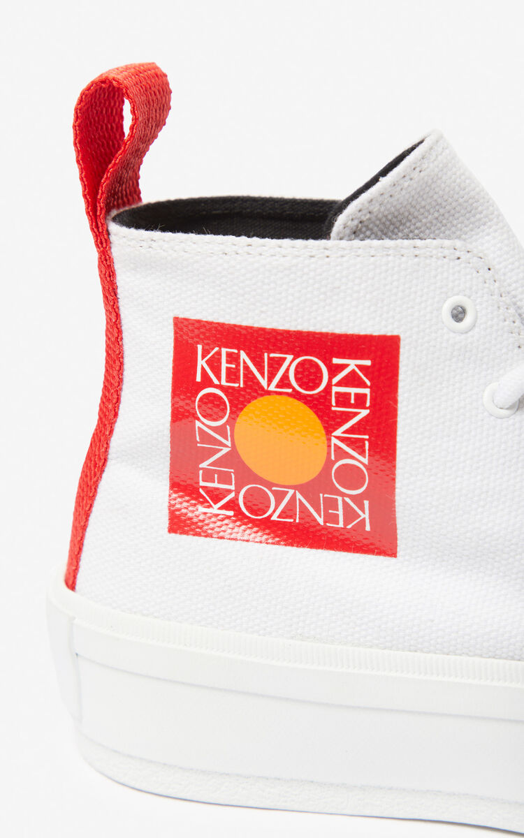 WHITE 'Square Logo' K-Street trainers for women KENZO