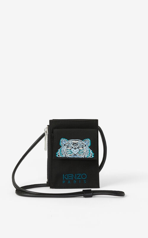 BLACK Canvas Kampus Tiger card holder with long strap for unisex KENZO