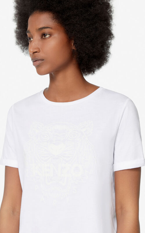 WHITE Iridescent Tiger t-shirt for women KENZO