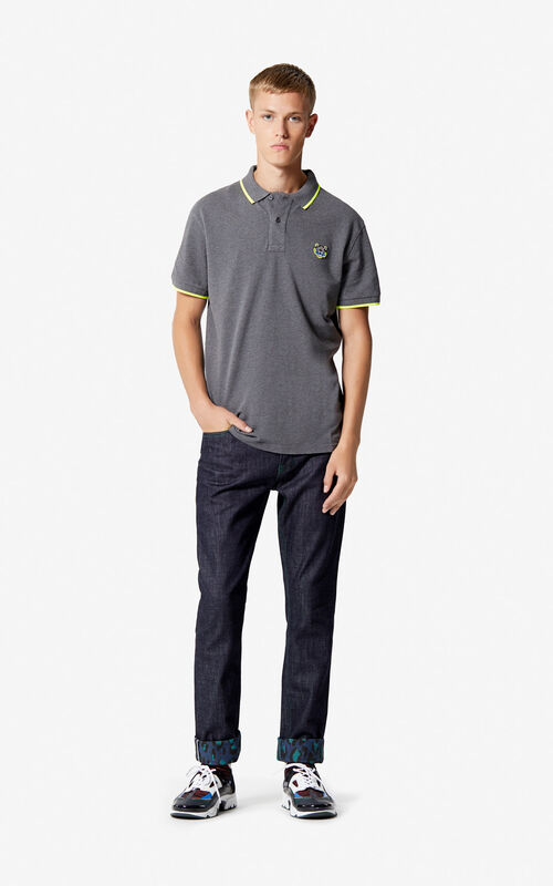 DARK GREY Regular fit Tiger Polo shirt for men KENZO
