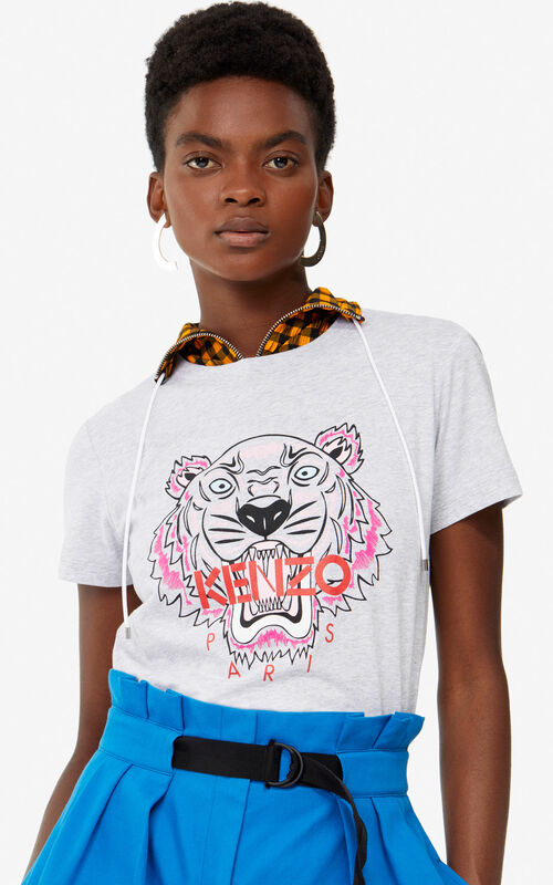 PALE GREY Tiger t-shirt for women KENZO ... 1e3d6ac22
