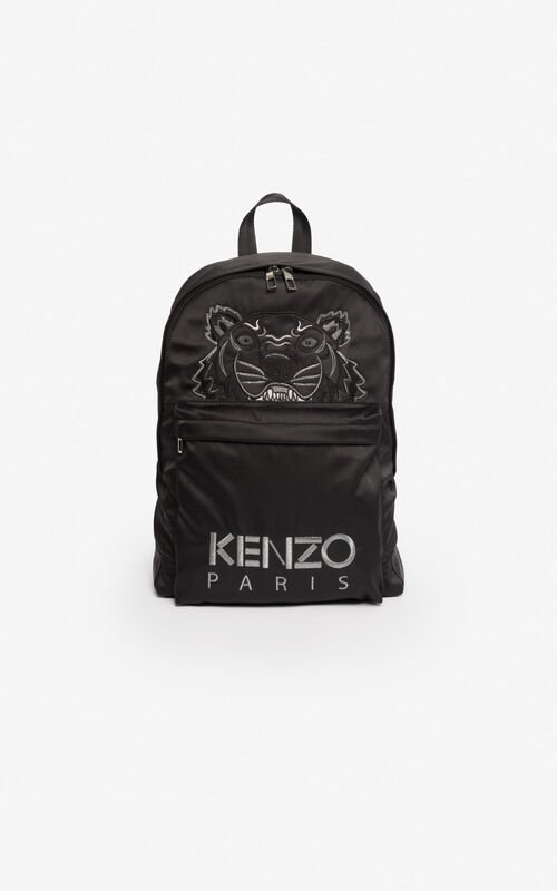 BLACK Large satin Tiger backpack for unisex KENZO