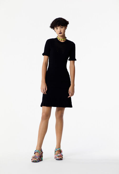BLACK Short mesh openwork dress for women KENZO