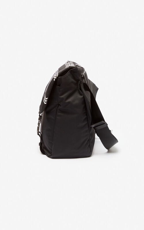 BLACK KENZO logo messenger bag for men