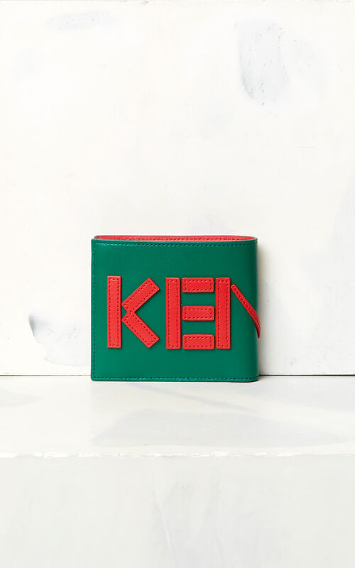BOTTLE GREEN KENZO colorblock wallet for men