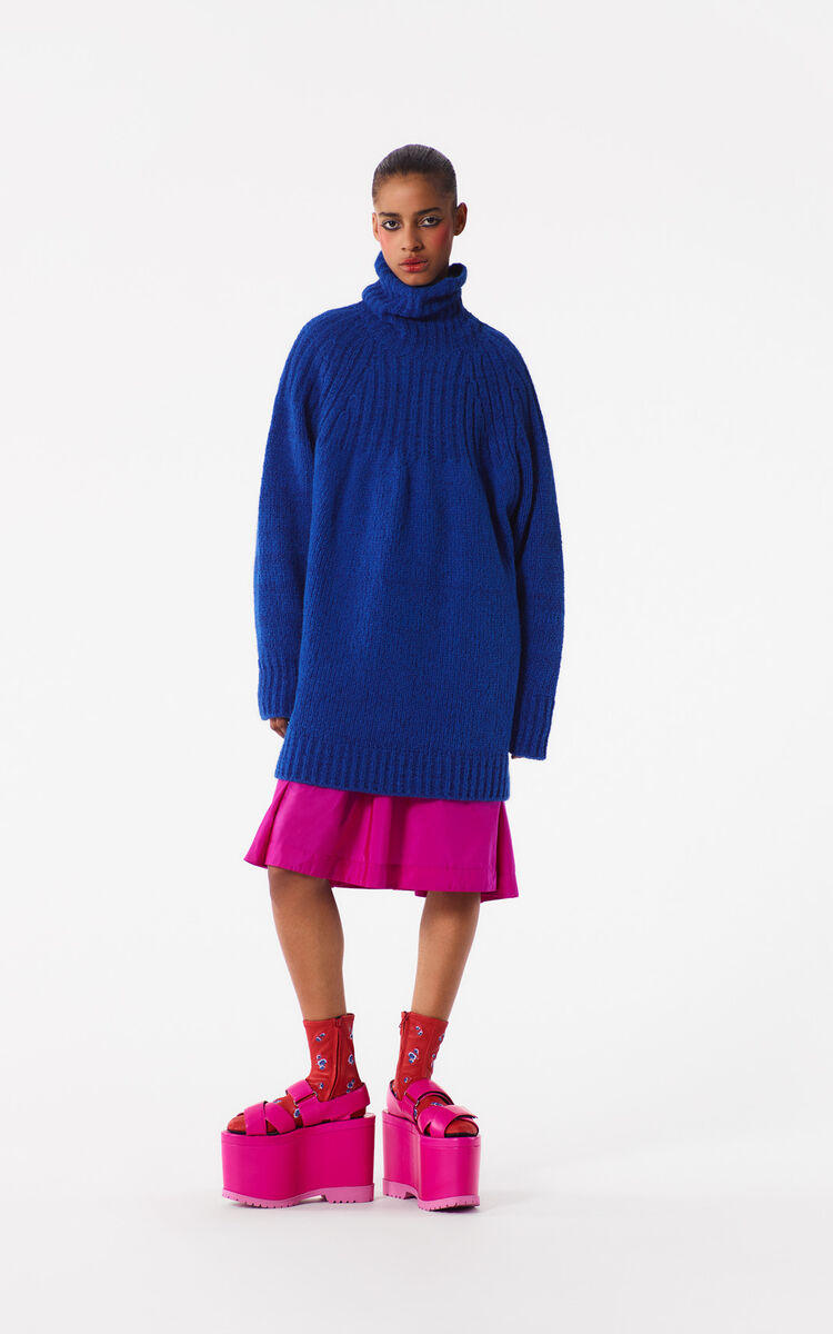 DEEP SEA BLUE Oversized Turtleneck Sweater for women KENZO