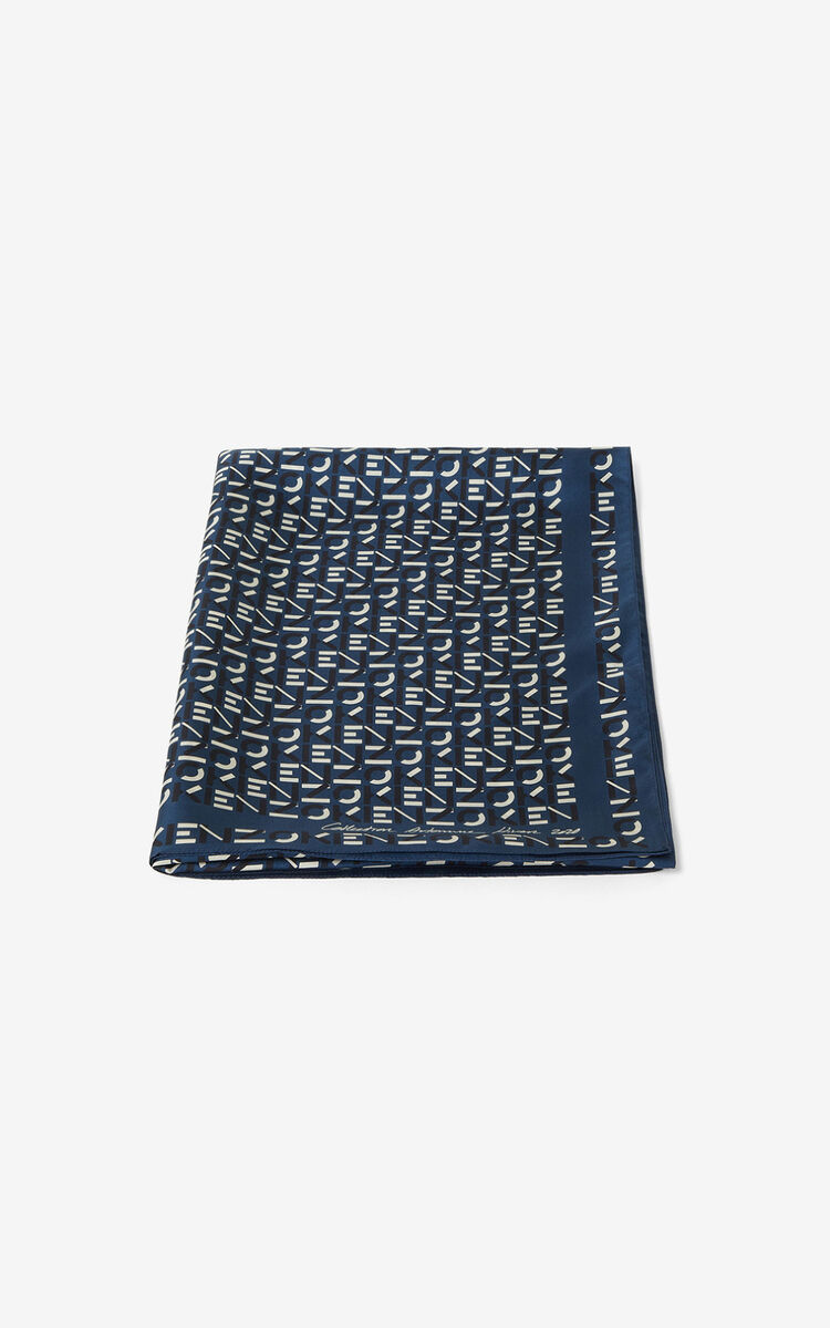 ELECTRIC BLUE Monogrammed silk stole for women KENZO