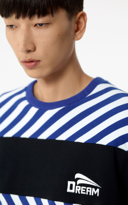 DEEP SEA BLUE Striped 'Dream' jumper for men KENZO