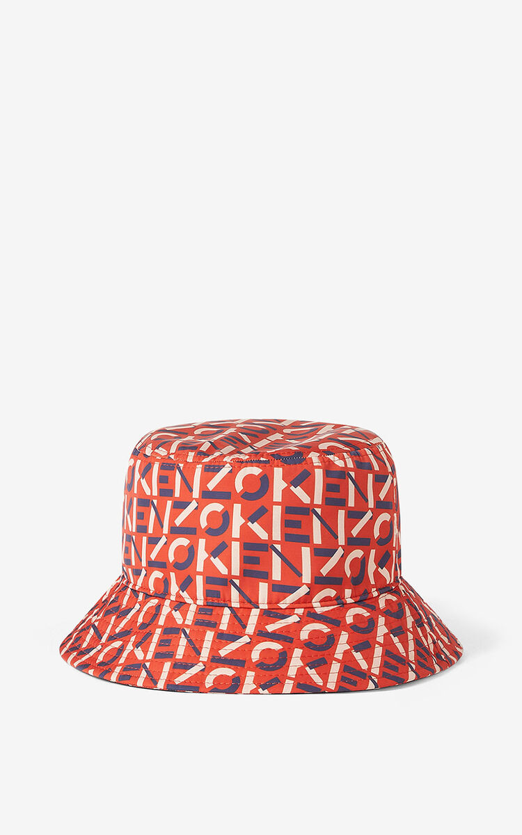 DEEP ORANGE KENZO Sport monogrammed bucket hat for unisex