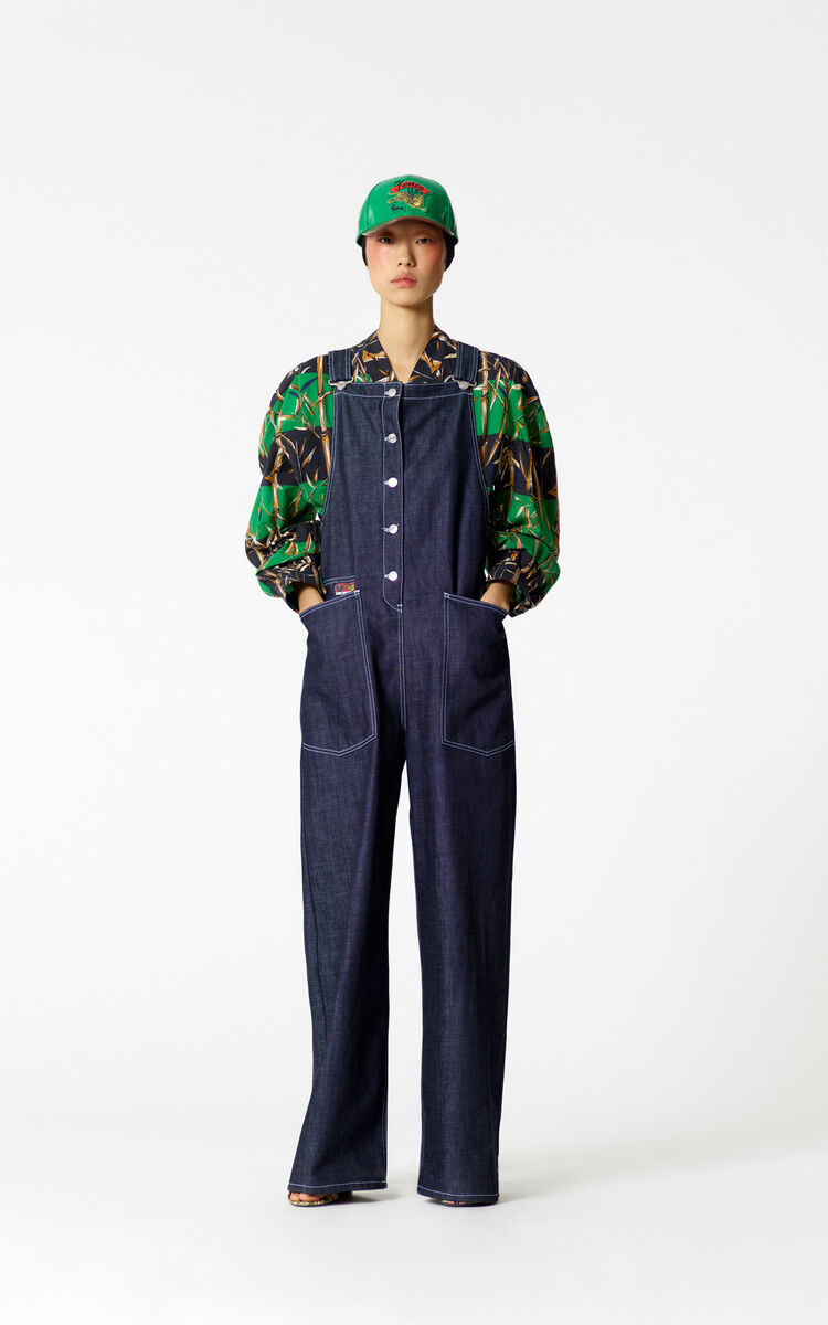 NAVY BLUE Denim dungarees for women KENZO