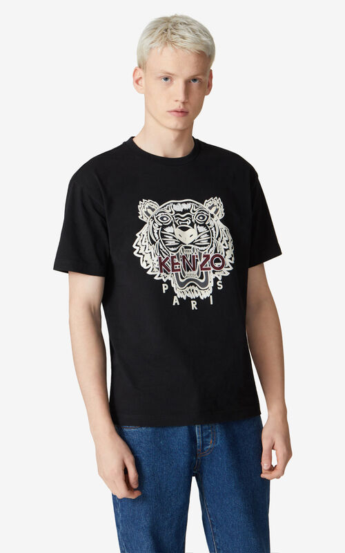 BLACK Loose embroidered Tiger t-shirt for men KENZO