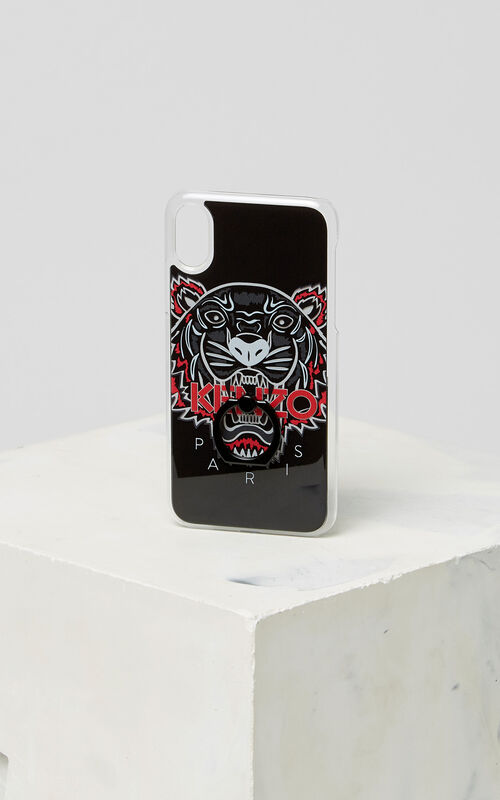 BLACK 3D Tiger iPhone X case with ring for unisex KENZO