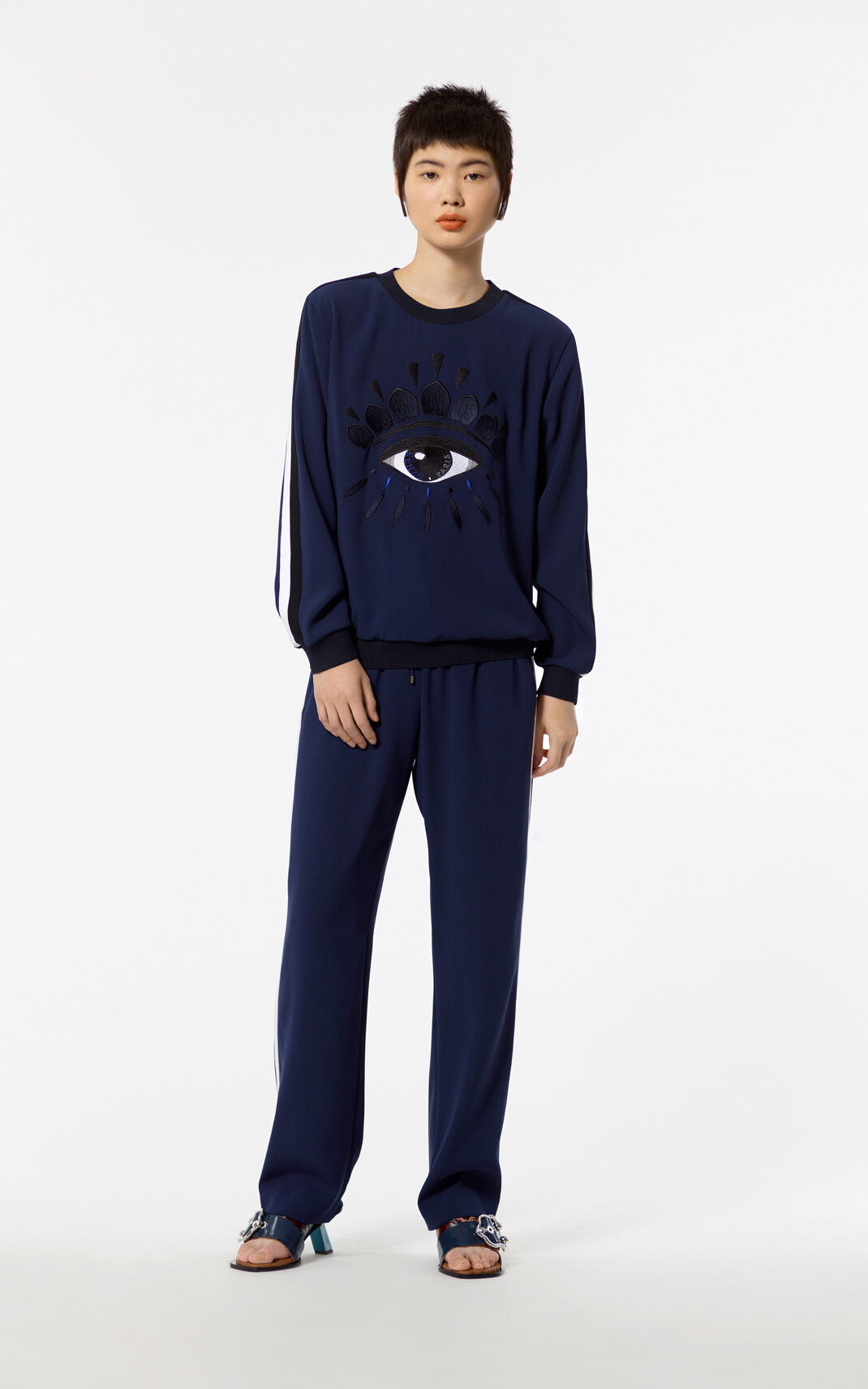 NAVY BLUE Eye crepe sweatshirt for women KENZO