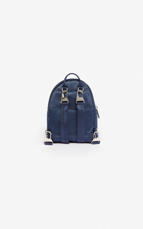 MIDNIGHT BLUE Mini satin Tiger backpack 'Holiday Capsule' for unisex KENZO