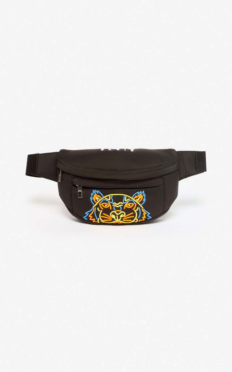 BLACK Tiger bumbag in neoprene for men KENZO