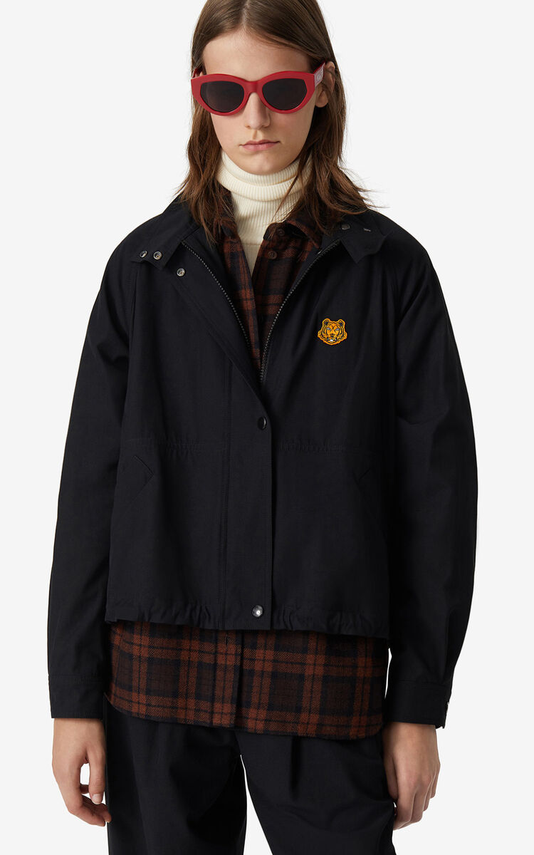BLACK Tigre Crest windbreaker for women KENZO
