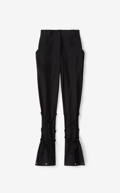 BLACK Trousers with pockets and cords for unisex KENZO