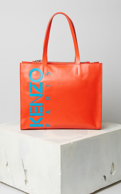 MEDIUM RED Leather Kenzo logo tote bag for unisex