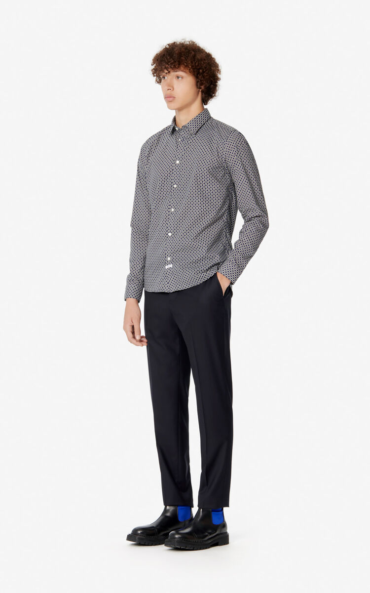 NAVY BLUE Slim fit 'Tiger Monograme' shirt for men KENZO