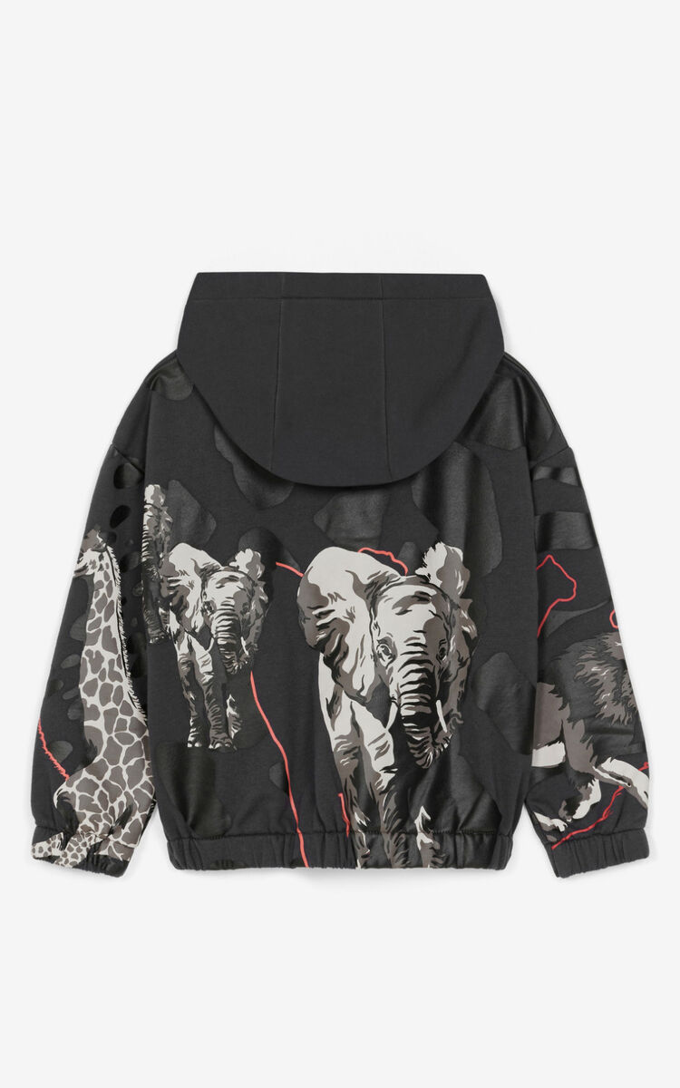 ANTHRACITE Multi-icon hooded sweatshirt with zipper for unisex KENZO