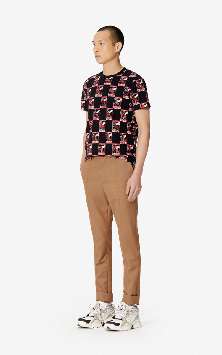 PALE CAMEL Cropped straight trousers for men KENZO