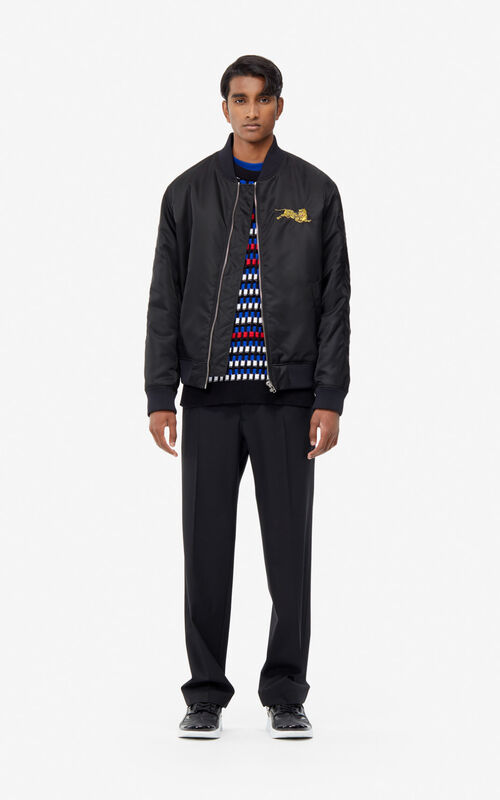 BLACK 'Jumping Tiger' bomber jacket for men KENZO