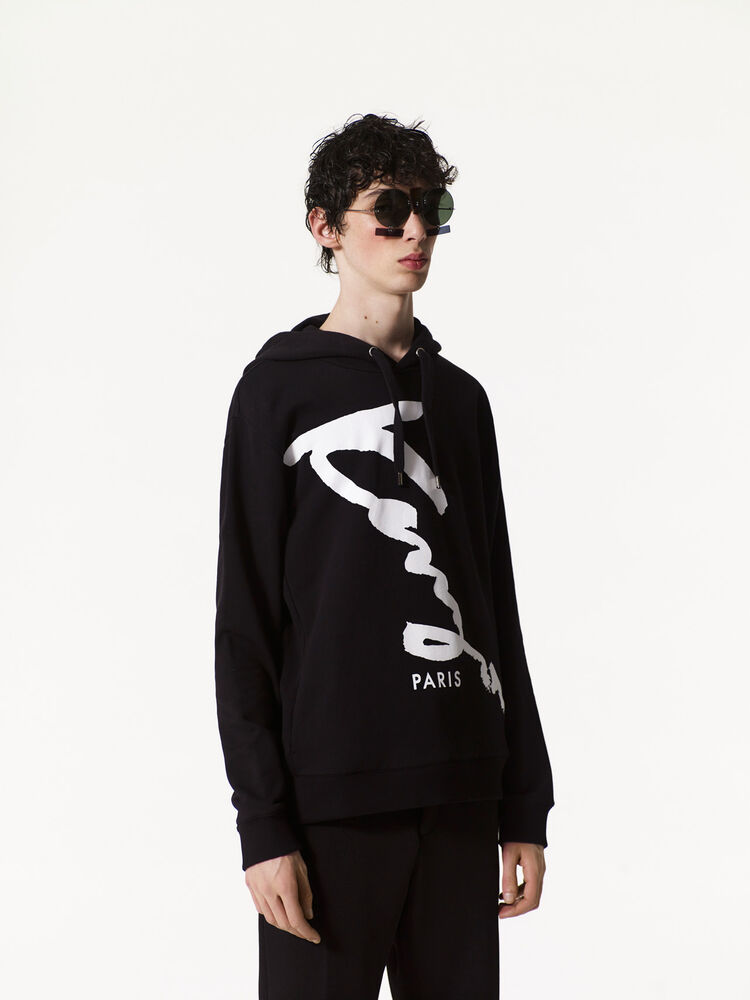 BLACK KENZO Signature hooded sweatshirt  for women