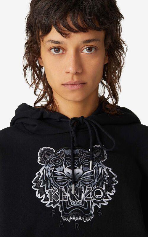 BLACK Boxy hooded Tiger sweatshirt for women KENZO