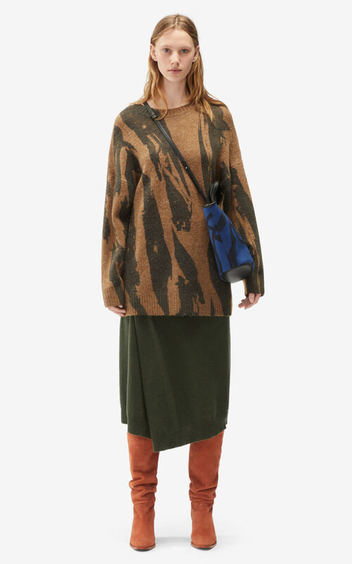 TAUPE 'Pleat Camo' jumper dress for women KENZO