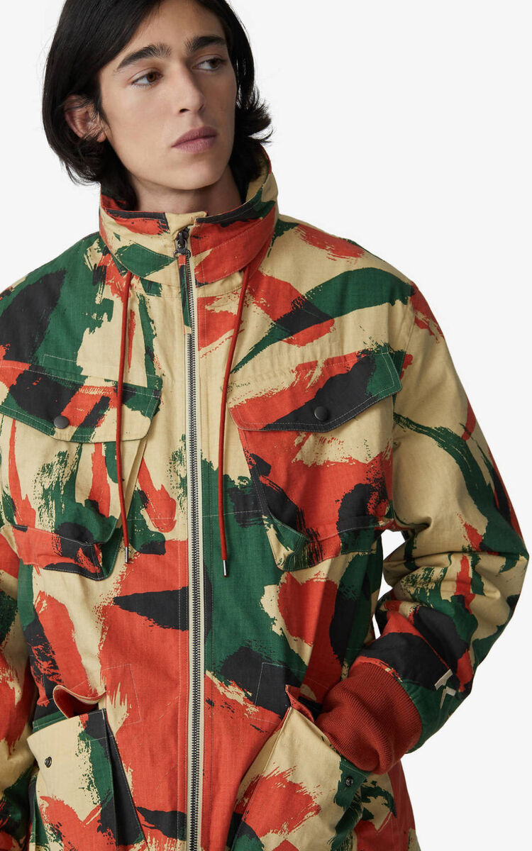 PAPRIKA 'Brushed Camo' overdyed utility parka for men KENZO