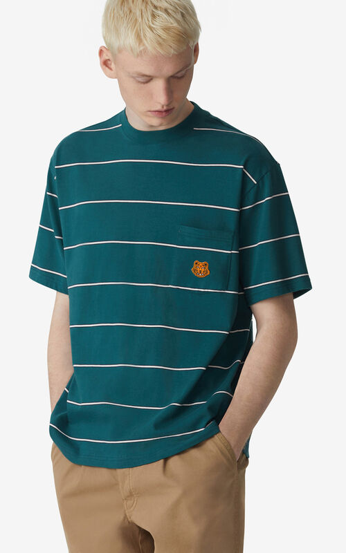 DUCK BLUE Striped oversize T-shirt for men KENZO