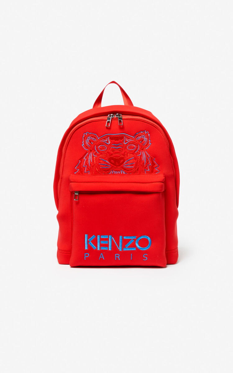 MEDIUM RED Large Neoprene Tiger backpack for unisex KENZO
