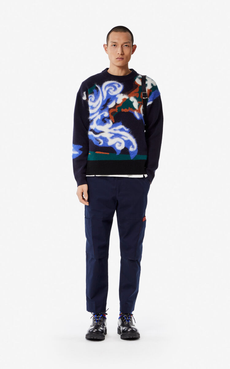 NAVY BLUE 'KENZO World' jumper for men