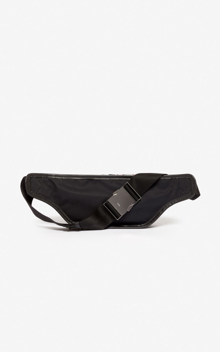 BLACK KENZO Paris belt bag with zip for unisex