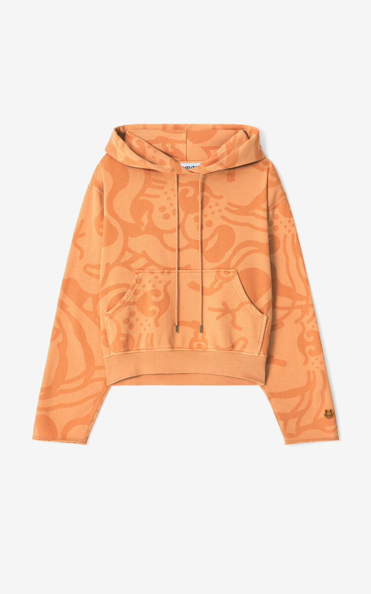 COGNAC K-Tiger hooded boxy sweatshirt for women KENZO