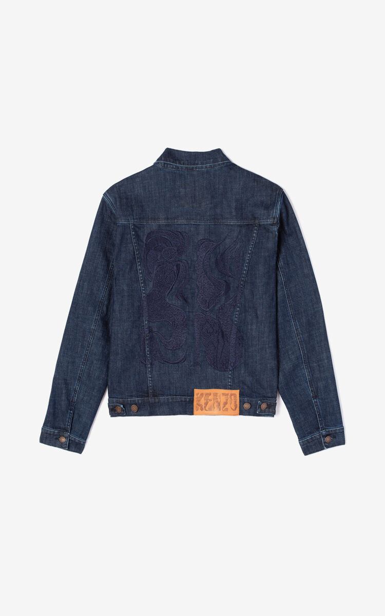 NAVY BLUE Mermaids' denim jacket for men KENZO