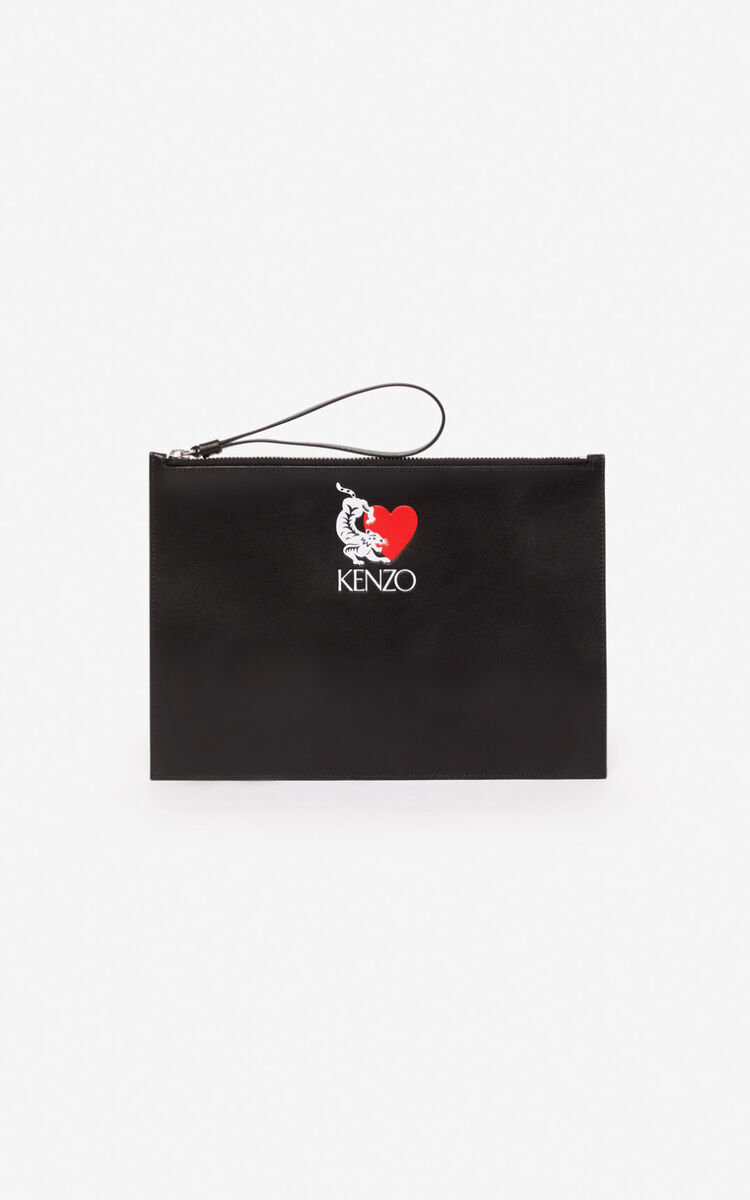 BLACK 'Lucky Tiger' leather clutch for men KENZO