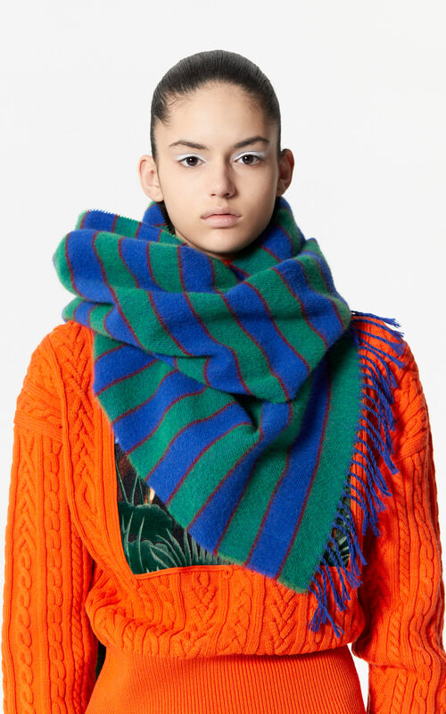 FRENCH BLUE Striped woollen scarf for women KENZO