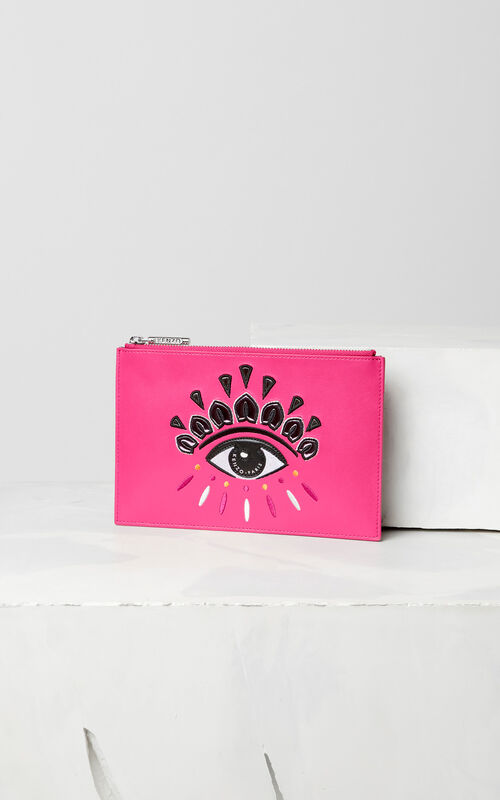 DEEP FUSCHIA A5 Eye leather clutch for women KENZO