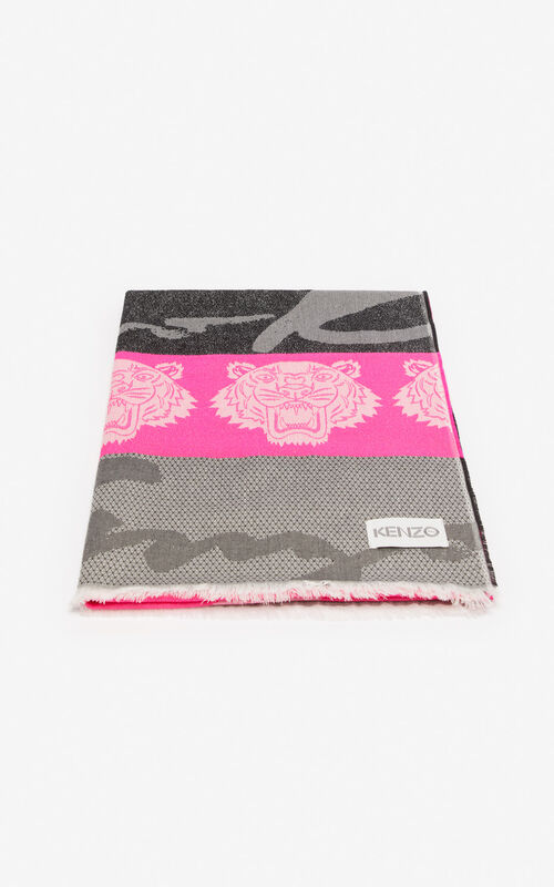 DEEP PINK Multi icon scarf for unisex KENZO