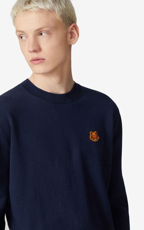 NAVY BLUE Tiger Crest jumper for men KENZO